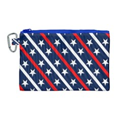 Patriotic Red White Blue Stars Canvas Cosmetic Bag (large) by Celenk
