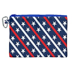Patriotic Red White Blue Stars Canvas Cosmetic Bag (xl) by Celenk
