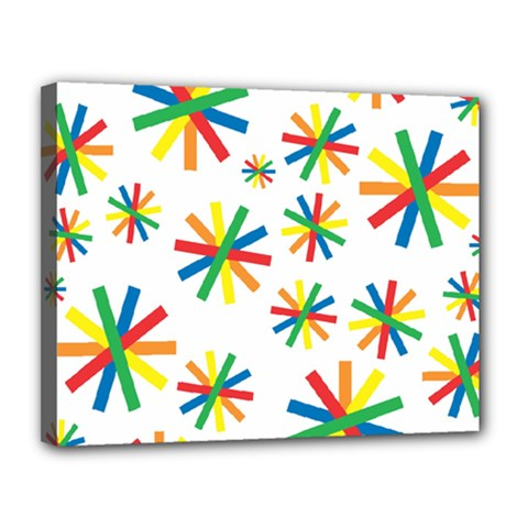 Celebrate Pattern Colorful Design Canvas 14  X 11  by Celenk