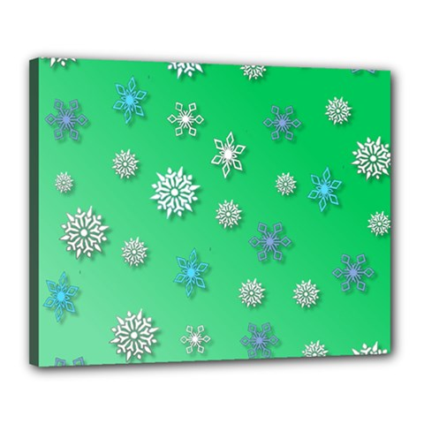 Snowflakes Winter Christmas Overlay Canvas 20  X 16  by Celenk