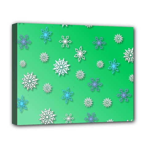 Snowflakes Winter Christmas Overlay Deluxe Canvas 20  X 16   by Celenk