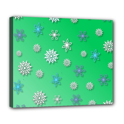 Snowflakes Winter Christmas Overlay Deluxe Canvas 24  X 20   by Celenk