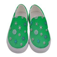 Snowflakes Winter Christmas Overlay Women s Canvas Slip Ons