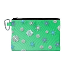 Snowflakes Winter Christmas Overlay Canvas Cosmetic Bag (medium)
