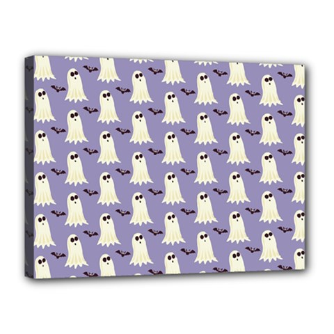 Bat And Ghost Halloween Lilac Paper Pattern Canvas 16  X 12  by Celenk
