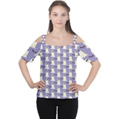 Bat And Ghost Halloween Lilac Paper Pattern Cutout Shoulder Tee by Celenk