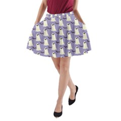 Bat And Ghost Halloween Lilac Paper Pattern A Line Pocket Skirt by Celenk