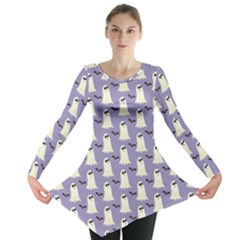 Bat And Ghost Halloween Lilac Paper Pattern Long Sleeve Tunic  by Celenk
