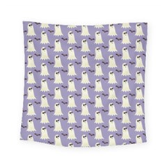 Bat And Ghost Halloween Lilac Paper Pattern Square Tapestry (small) by Celenk