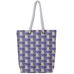 Bat And Ghost Halloween Lilac Paper Pattern Full Print Rope Handle Tote (small) by Celenk