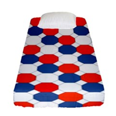 Geometric Design Red White Blue Fitted Sheet (single Size) by Celenk