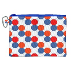 Geometric Design Red White Blue Canvas Cosmetic Bag (xl) by Celenk