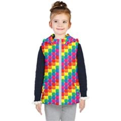 Rainbow 3d Cubes Red Orange Kid s Puffer Vest