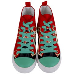 Red Black Background Wallpaper Bg Women s Mid Top Canvas Sneakers