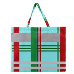 Christmas Plaid Backgrounds Plaid Zipper Large Tote Bag by Celenk
