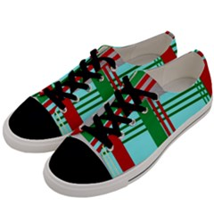 Christmas Plaid Backgrounds Plaid Men s Low Top Canvas Sneakers by Celenk