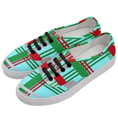 Christmas Plaid Backgrounds Plaid Women s Classic Low Top Sneakers by Celenk
