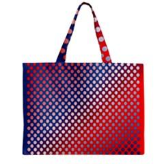 Dots Red White Blue Gradient Zipper Mini Tote Bag by Celenk