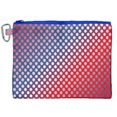 Dots Red White Blue Gradient Canvas Cosmetic Bag (xxl) by Celenk