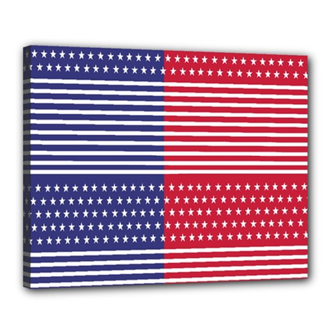 American Flag Patriot Red White Canvas 20  X 16  by Celenk