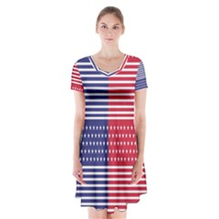 American Flag Patriot Red White Short Sleeve V Neck Flare Dress