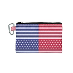 American Flag Patriot Red White Canvas Cosmetic Bag (small)
