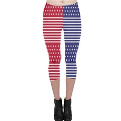 American Flag Patriot Red White Capri Leggings