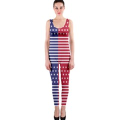 American Flag Patriot Red White Onepiece Catsuit