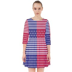 American Flag Patriot Red White Smock Dress