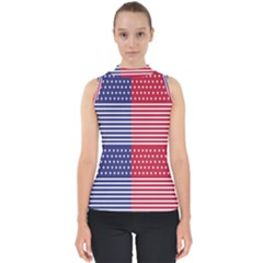 American Flag Patriot Red White Shell Top