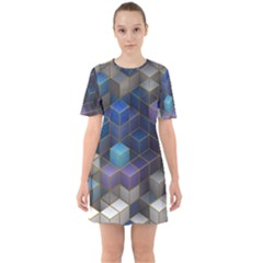 Cube Cubic Design 3d Shape Square Sixties Short Sleeve Mini Dress