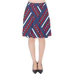 Patriotic Red White Blue Stars Velvet High Waist Skirt