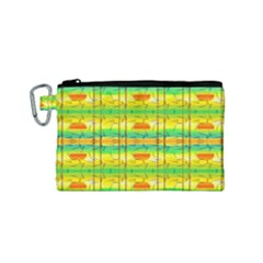 Birds Beach Sun Abstract Pattern Canvas Cosmetic Bag (small) by Celenk