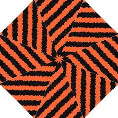 Black Orange Pattern Folding Umbrellas by Celenk