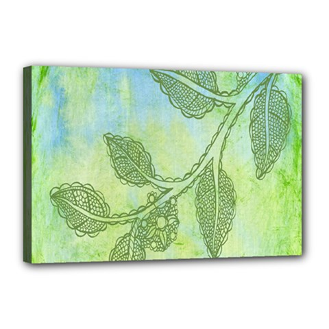 Green Leaves Background Scrapbook Canvas 18  X 12  by Celenk