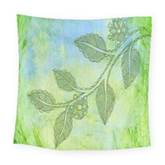 Green Leaves Background Scrapbook Square Tapestry (large) by Celenk