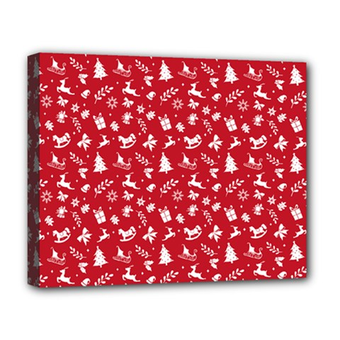 Red Christmas Pattern Deluxe Canvas 20  X 16   by patternstudio