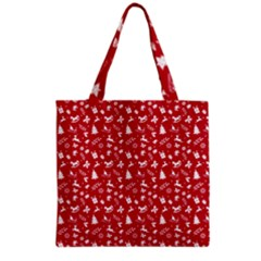 Red Christmas Pattern Grocery Tote Bag by patternstudio