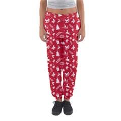Red Christmas Pattern Women s Jogger Sweatpants by patternstudio
