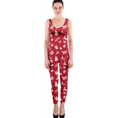 Red Christmas Pattern Onepiece Catsuit by patternstudio