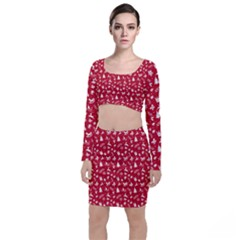 Red Christmas Pattern Long Sleeve Crop Top & Bodycon Skirt Set