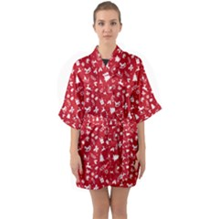Red Christmas Pattern Quarter Sleeve Kimono Robe