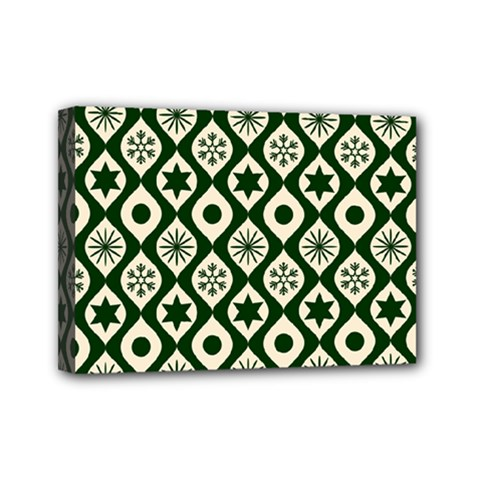 Green Ornate Christmas Pattern Mini Canvas 7  X 5