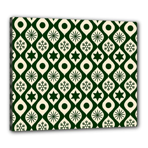 Green Ornate Christmas Pattern Canvas 24  X 20
