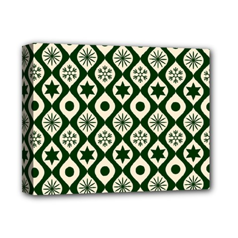 Green Ornate Christmas Pattern Deluxe Canvas 14  X 11  by patternstudio