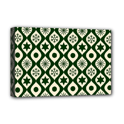 Green Ornate Christmas Pattern Deluxe Canvas 18  X 12   by patternstudio