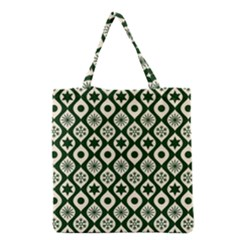 Green Ornate Christmas Pattern Grocery Tote Bag