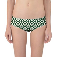 Green Ornate Christmas Pattern Classic Bikini Bottoms