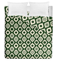 Green Ornate Christmas Pattern Duvet Cover Double Side (queen Size)