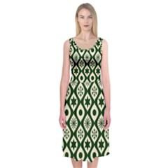 Green Ornate Christmas Pattern Midi Sleeveless Dress